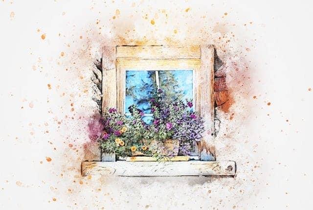 Illustrasjon som viser et gammelt vindu